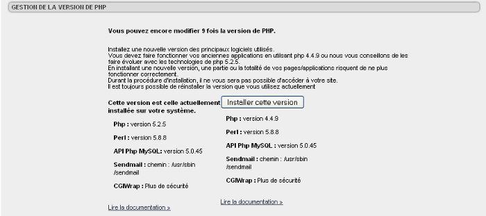changer de version php sur un serveur amen