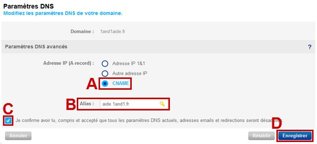 Comment créer un alias CNAME chez 1and1 ?