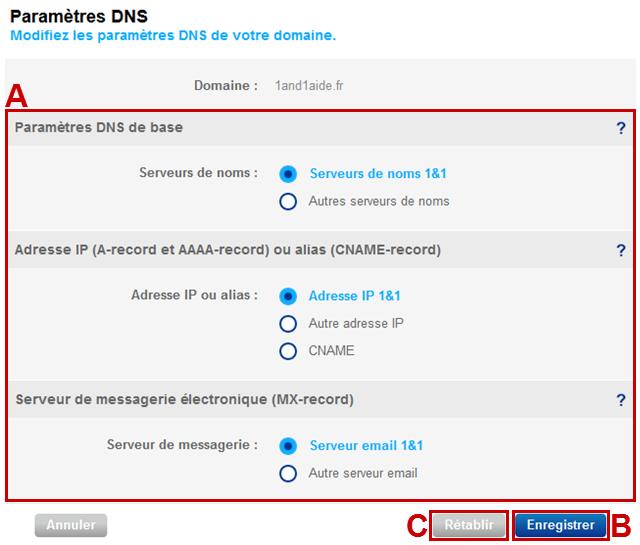 modifier les DNS chez 1and1