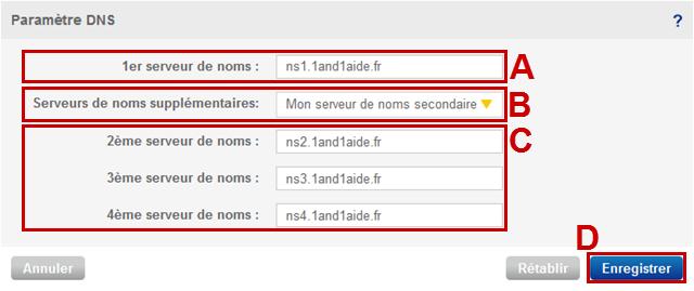 modifier les serveurs de noms autoritaires